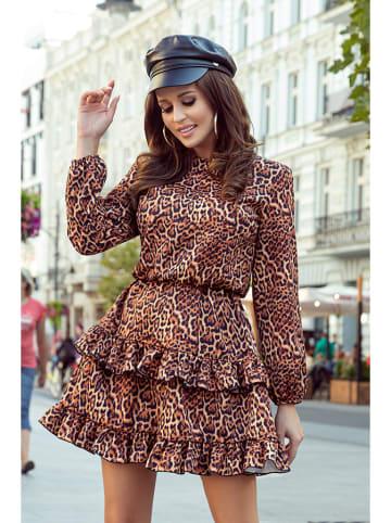 Numoco Sukienka w kolorze brązowym ze wzorem