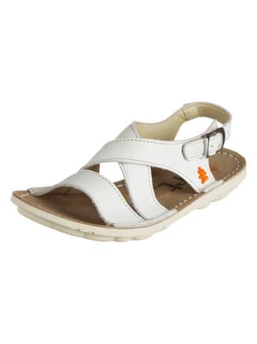 Art Kids Skórzane sandały w kolorze białym