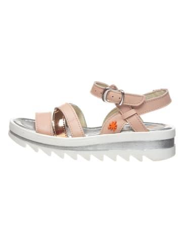 Art Kids Skórzane sandały w kolorze jasnoróżowym