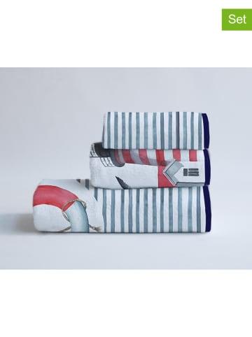"""Little nice things Ręczniki (3 szt.) """"Faro"""" w kolorze biało-niebiesko-czerwonym"""
