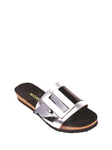 Comfortfusse Leren slippers zwart/zilverkleurig