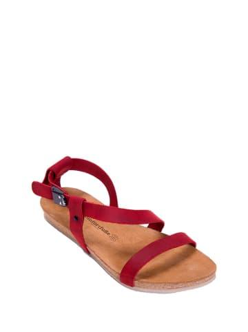 Comfortfusse Leren sandalen rood