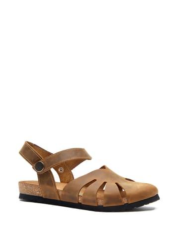 Comfortfusse Leren sandalen lichtbruin