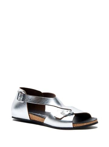 Comfortfusse Leren sandalen zilverkleurig