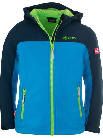 """Trollkids Fleece vest """"Trollheimen"""" blauw/donkerblauw"""