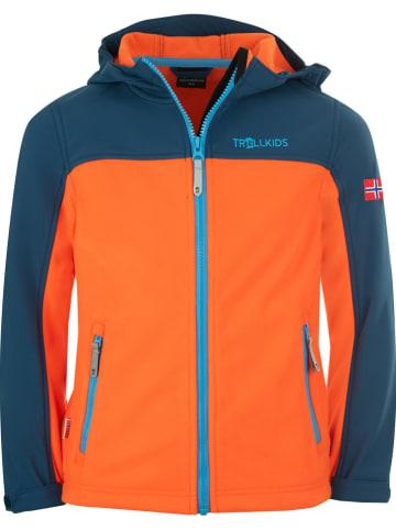 """Trollkids Fleece vest """"Trollheimen"""" oranje/donkerblauw"""