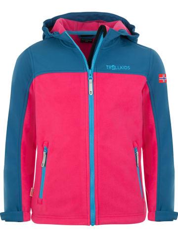 """Trollkids Fleece vest """"Trollheimen"""" roze/blauw"""