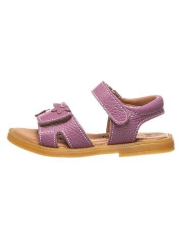 Lamino Leren sandalen paars