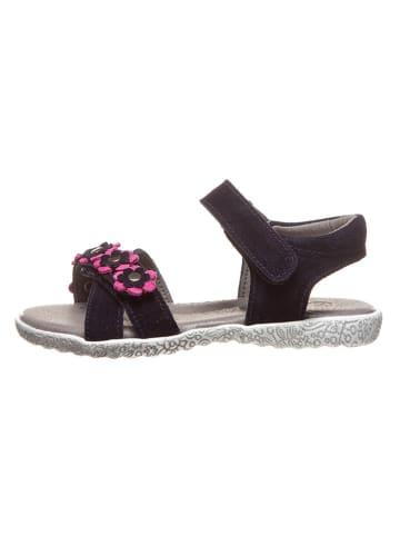 Lamino Leren sandalen donkerblauw