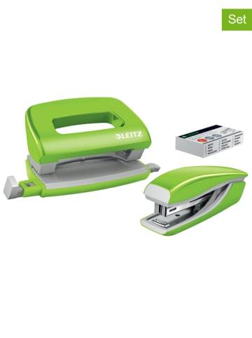 """Leitz 2-delige set: mini-nietmachine en -perforator """"WOW"""" groen"""