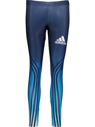 """Adidas Legginsy sportowe """"Race"""" w kolorze niebieskim"""