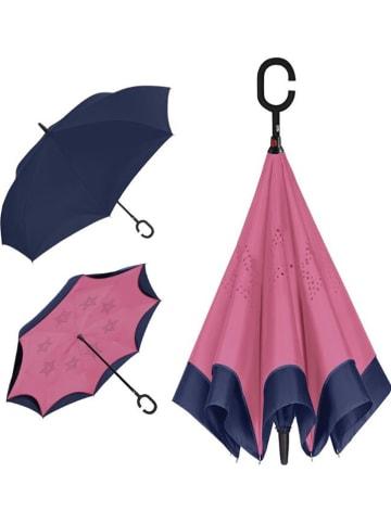 Le Monde du Parapluie Parasol odwrotny w kolorze granatowo-jasnoróżowym - Ø 108 cm