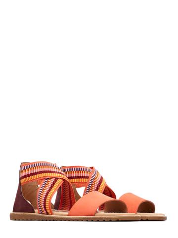 """Sorel Skórzane sandały """"Ella Sandal"""" w kolorze pomarańczowym ze wzorem"""