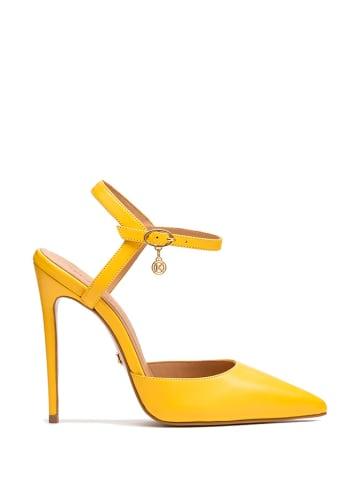 Kazar Skórzane czółenka w kolorze żółtym