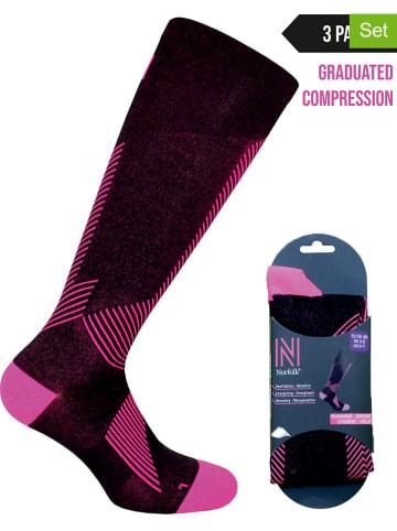 Norfolk 3er-Set: Kompressionssocken in Schwarz/ Pink