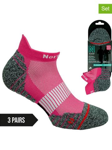 Norfolk 3-delige set: hardloopsokken roze