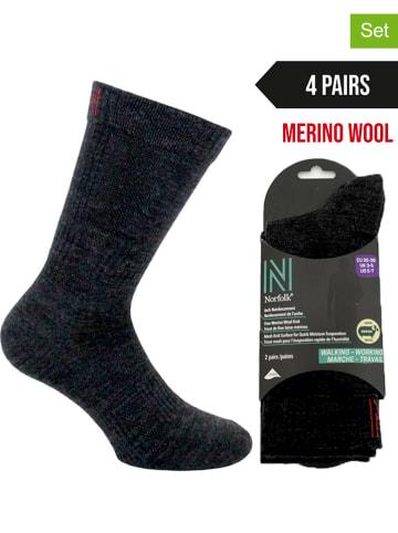 Norfolk 4-delige set: wandelsokken zwart