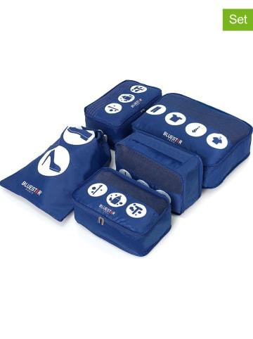 """BlueStar 5-częściowy organizer podróżny """"Duplex"""" w kolorze niebieskim"""