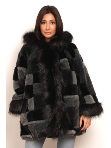 "Plus Size Fashion Mantel ""Saraya"" grijs/zwart"