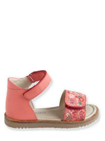 Vertbaudet Skórzane sandały w kolorze pomarańczowym