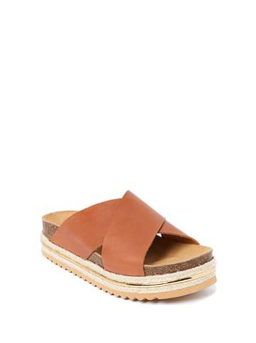 Mandel Leren slippers bruin