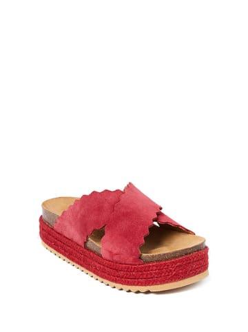 Mandel Skórzane klapki w kolorze czerwonym