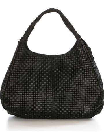 "Lucca Baldi Leren shopper ""Pitigliano"" zwart - (B)43 x (H)38 x (D)20 cm"