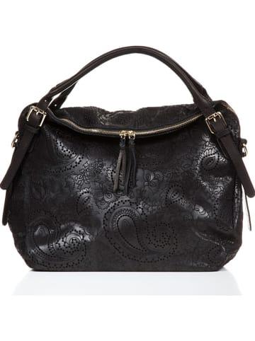 """Lucca Baldi Skórzany shopper bag """"Cortona"""" w kolorze czarnym - 40 x 36 x 16 cm"""