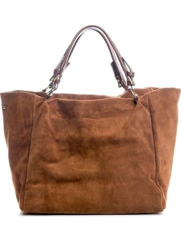 "Lucca Baldi Leren shopper ""Gimignano"" bruin - (B)45 x (H)50 x (D)20 cm"