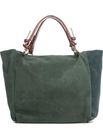 """Lucca Baldi Skórzany shopper bag """"Gimignano"""" w kolorze zielonym  - (S)45 x (W)50 x (G)20 cm"""