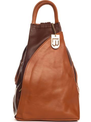 """Lucca Baldi Skórzany plecak """"Novara"""" w kolorze brązowym - 29 x 34 x 13 cm"""