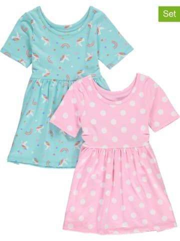 GAP 2-delige set: jurken turquoise/lichtroze