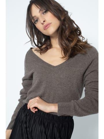 AUTHENTIC CASHMERE Kaszmirowy sweter w kolorze szarobrązowym