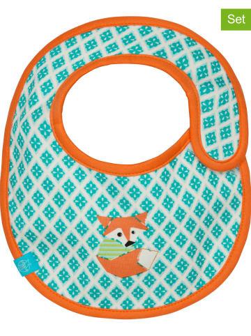 """Lässig 2er-Set: Beschicht. Lätzchen """"Fox"""" in Türkis/ Orange - (L)26,5 x (B)21 cm"""