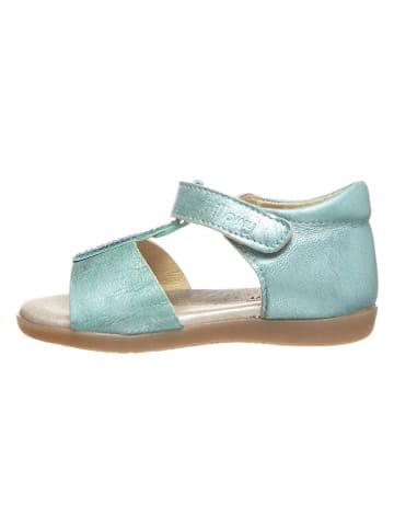 Billowy Skórzane sandały w kolorze turkusowym