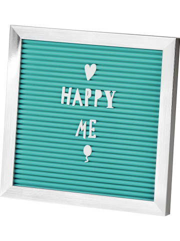 """Moses. Letterboard """"Happy Me"""" in Türkis/ Silber - (B)20 x (H)20 cm"""
