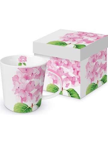 "Ppd Jumbotasse ""Hydrangea"" in Weiß/ Rosa - 350 ml"
