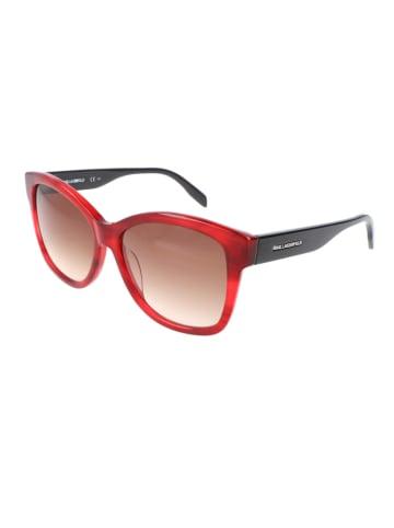 Karl Lagerfeld Damskie okulary przeciwsłoneczne w kolorze czarno-czerwono-brązowym