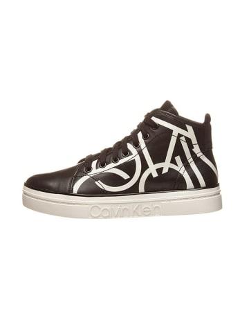 "Calvin Klein Leren sneakers ""Kayce"" zwart/wit"