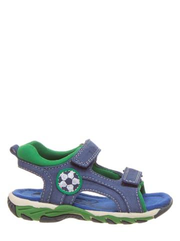 Pio Leren sandalen blauw/groen