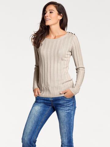 Far Far Fashion Sweter w kolorze szampana