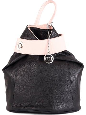 """Mia Tomazzi Skórzany plecak """"Sirietto"""" w kolorze czarno-jasnoróżowym - 28 x 36 x 13 cm"""