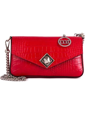 Mia Tomazzi Leren clutch rood - (B)20 x (H)10 x (D)3 cm