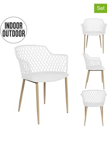 """THE HOME DECO FACTORY Krzesła (2 szt.) """"Malaga"""" w kolorze białym - 54 x 80 x 62 cm"""