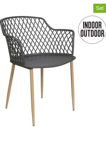 "THE HOME DECO FACTORY 2-delige set: stoelen ""Malaga"" antraciet - (B)54 x (H)80 x (D)62 cm"