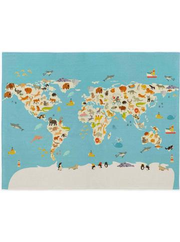 """Tanuki Laagpolig tapijt """"World map"""" lichtblauw - (L)150 x (B)100 cm"""