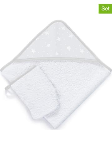 "Tanuki 2-delige badset ""Stars & Dots"" wit/grijs"
