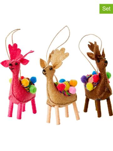 """Rice 3-delige set: decoratieve hangers """"Rendeer"""" - (B)7 x (H)10 x (D)2,5 cm"""