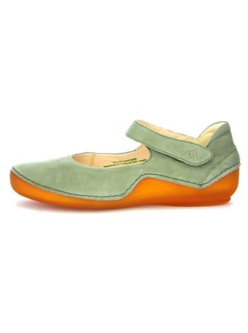 "Think! Leren ballerina's ""Kapsl"" groen/oranje"