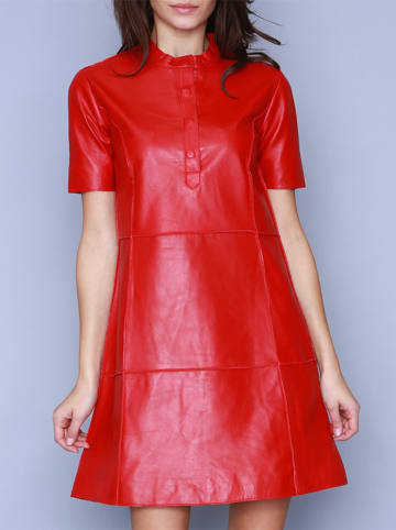 Isaco und Kawa Skórzana sukienka w kolorze czerwonym